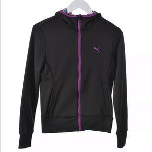 Puma Women's Black/Purple Zip Fleece Hoodie XS